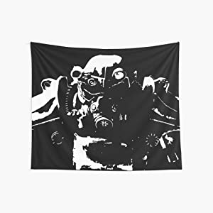 Noick Fallout 3, Fallout 4 - T45 Power Armour 3D Boutique Wall Tapestry Pop Art Retro Micro Microfiber Peach Peach Home Decoration 59.1X51.2 in