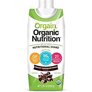 Orgain Organic Nutrition Shake, Creamy Chocolate Fudge, 11 Ounce, 12 Count, Packaging May Vary