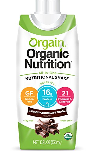 Orgain Organic Nutrition Shake, Creamy Chocolate Fudge, Gluten Free, Non-GMO, Kosher, 11 Ounce, 12 Count (Packaging May Vary)