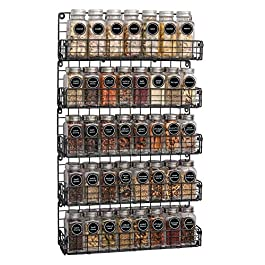 Spice Rack Organizer Wall Mounted 5-Tier Stackable Black Iron Wire Hanging Spice Shelf Storage Racks,Great for Kitchen…