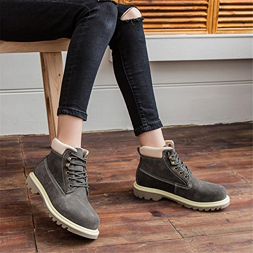 NVXIE Women's Ankle Boots Low Heel Lace-up Leather Shoes Locomotive Autumn Spring Real British Style Leisure Outdoor GRAY-EUR42UK85 fauOTSQ02L