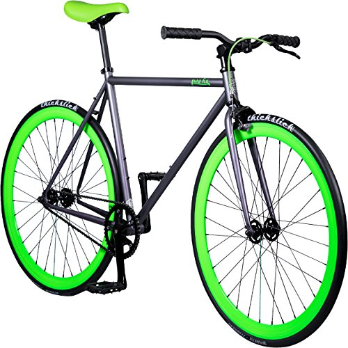 Pure Fix Glow in the Dark Fixed Gear Single Speed Bicycle, Matte Gray/Hyper...
