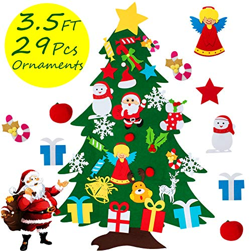 COCOMOON Felt Christmas Tree for Kids  29 Pcs Ornaments Wall Decor with Hanging Rope for Toddlers Xmas Gifts Home Door Decoration Felt Christmas Tree