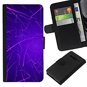 [Neutron-Star] Modelo colorido cuero de la carpeta del tirón del caso cubierta piel Holster Funda protecció Para Samsung Galaxy Core Prime [Púrpura Líneas Rave palillo del resplandor]