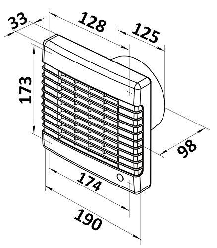 integriertem Verschlussgitter Abluftventilator 125mm mit automatischem