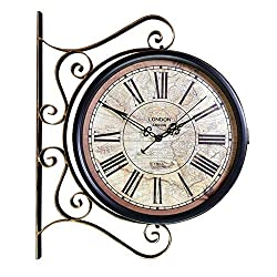 Wall Clocks Battery Operated Double-Sided Vintage European Roman Numerals Indoor Bracket Wrought Iron Train Station Style Retro Rolling 360 Degree Living Room Decor Clocks Clock with Indoor