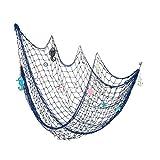LIOOBO Fish Net Decorations Nautical Coastal Beach Wall Decorations Home Decor Bedroom Ornaments 150 * 200cm