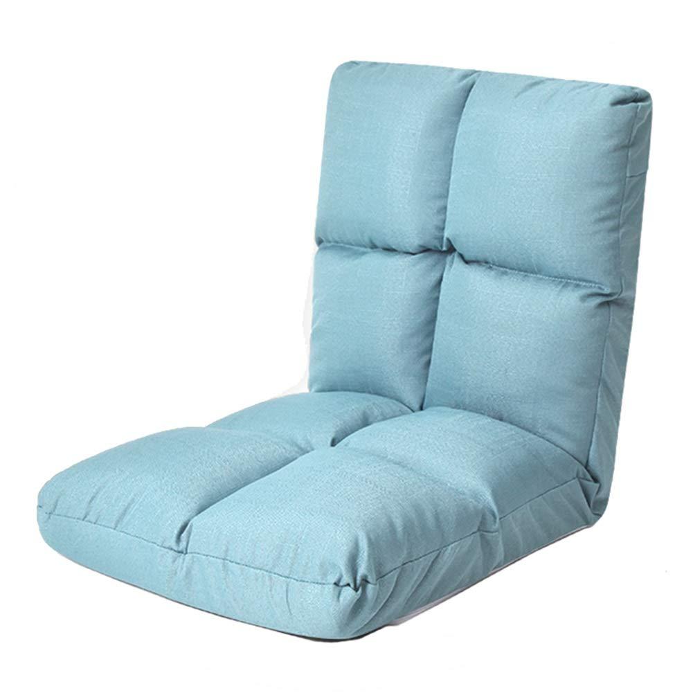 Bodenstuhl, Verstellbarer 5-Position-Floor-Gaming-Sofa-Stuhl Gepolsterter Lehnstuhl Lazy Padded Lounger (Farbe   Blau)