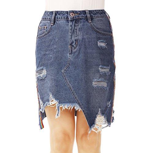 NONOSIZE Women's Fashion High Waist Ripped Casual Distressed Asymmetrical Denim Skirt ()