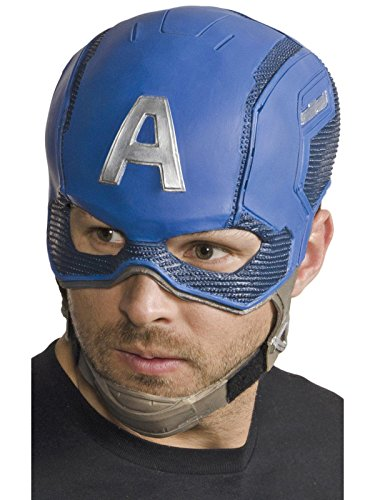 Marvel Men's Civil War Captain America Full Vinyl Mask, Multi, One Size - Adult Captain America Mask