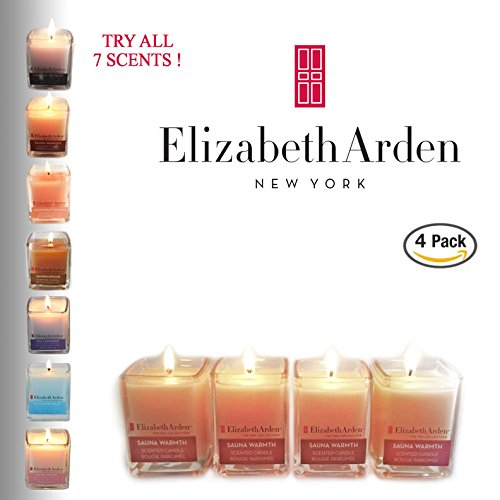 Cyber Deal! Elizabeth Arden Sauna Warmth Aromatherapy Votive Candle 4-pack of Scented Soy Candles | Neutral Home Décor | Clean Burning | Great Party Favors! | Made in the USA
