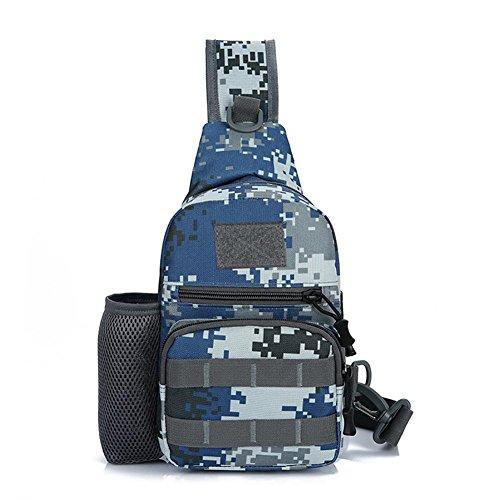 Paquete del bolso de la honda, bolso de hombro de los hombres Crossbody que camina la mochila del deporte del bolso de la mochila de la bicicleta de la escuela para acampar, completando un ciclo, viaj dark blue camouflage