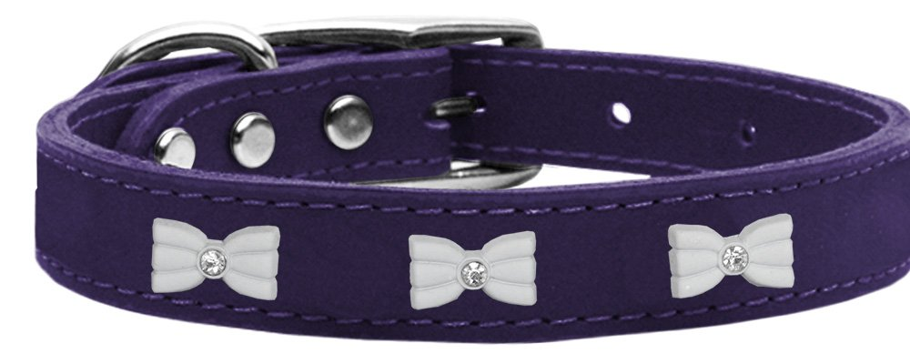 Mirage Pet Products 83-49 Pr14 White Bow Widget Genuine Leather Purple Dog Collar, Large by Mirage Pet Products