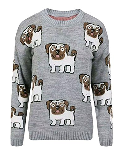 Print Maglione Grey Donna Fairies Pug Multi Fashion 7qxY6Cgw1W