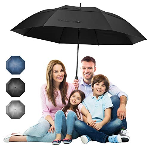 68 inch Extra Large Windproof Golf Umbrella UV Protection with Wooden Handle Automatic Open Double Canopy Vented Sun Rain Umbrellas Waterproof Oversize Stick Umbrellas for Men Women (Black-68 inch)