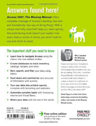 Access 2007: The Missing Manual by Brand: Pogue Press