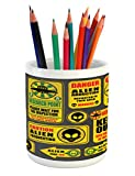 Lunarable Outer Space Pencil Pen Holder, Warning Ufo Signs with Alien Faces Heads Galactic Theme Paranormal Activity Design, Printed Ceramic Pencil Pen Holder for Desk Office Accessory, Yellow
