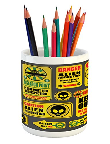 Lunarable Outer Space Pencil Pen Holder, Warning Ufo Signs with Alien Faces Heads Galactic Theme Paranormal Activity Design, Printed Ceramic Pencil Pen Holder for Desk Office Accessory, Yellow by Lunarable