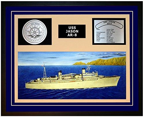 Navy Emporium USS Jason AR 8 Framed Navy Ship Display Blue