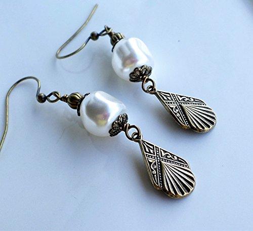 White Pearl Antique Brass Art Deco Earrings