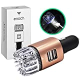 Enoch Car Air Purifier with USB Car Charger 2-Port. Car Air Freshener Eliminate Odor, Dust, Pollen, Bacteria, Removes Cigarette Smoke, Pet and Food Odor, Ionic Ozone, Relieve Allergy - Rose Gold.