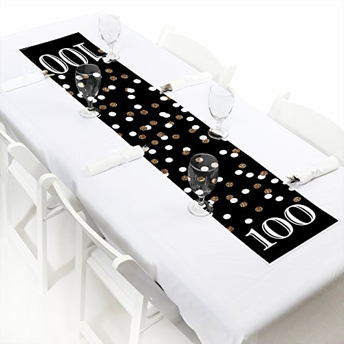 Adult 100th Birthday - Gold - Petite Birthday Party Paper Table Runner - 12'' x 60'' by Big Dot of Happiness