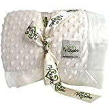My Blankee Minky Dot Twin Blanket with Flat Satin Border, Cream, 59'' X 85''