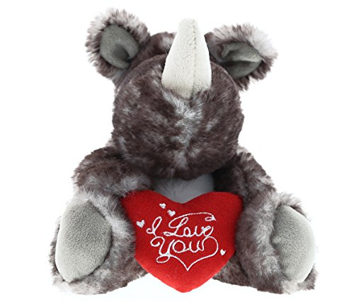 DolliBu Sitting Brown Rhino I Love You Valentines Stuffed Animal - Heart Message - 5.5 inch - Wedding, Anniversary, Date Night, Long Distance, Get Well Gift for Her, Him, Kids - Super Soft Plush ()