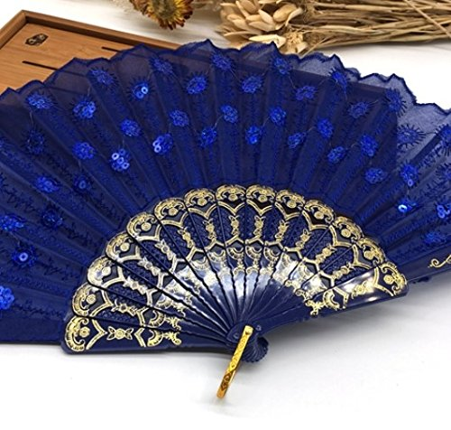 Deep Blue Multi Colors Sequins Peacock Lace Elegant Hand Fans Dancing Props Dance Fan Party Favors Party Supplies by Hand Fan