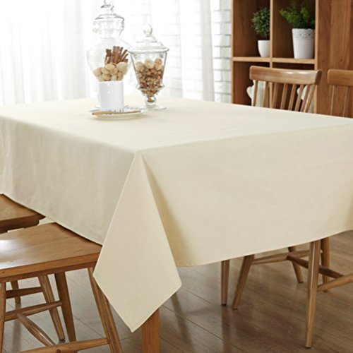 (YJBear Cotton Linen Solid Candy Color Table Cloth for Dinner Washable Rectangle Tablecloth Desk Cover Table Cover for Home Decoration Beige 39
