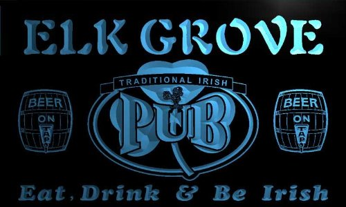 Pa2206 B Elk Grove Irish Shamrock Home Pub Bar Beer Neon Light Sign