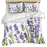 Purple 3 Piece Bedding Set Comforter Cover King Size, Lavender Aromatic Evergreen Shrub of the Mint Family Nature,Duvet Cover Set Bedspread Daybed with Zipper Closure for Childrens/Kids/Teens/Adults
