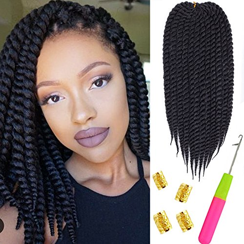 "Mirra's Mirror 6Packs 12"" Havana Twist Crochet Hair Mambo Twist Senegalese Crochet Braids Braiding Hair 75gram/12 roots/Pack"