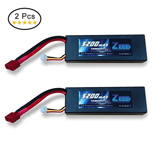 Zeee 5200mAh 7.4V 2S 50C LiPo Battery Hard Case for RC Car,Trucks, Boat(2PCS)
