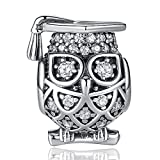 ANGELFLY 925 Sterling Silver Graduate Owl Charm with Cap Lucky Animal Graduation Charms for Bracelets