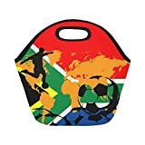 InterestPrint Insulated Lunch Tote Bag World Cup Soccer Reusable Neoprene Cooler, Football Sport Portable Lunchbox Handbag for Men Adult Kids Boys
