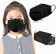 Kids Disposable Face Masks 3-Ply Protective 100 PCS Black Safety Breathable Mask Cover for Boys Girls with Adj