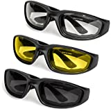 3-Pack Motorcycle Glasses - Foam Padding - Anti-Wind & Dust - Polycarbonate Lens (Yellow, Smoke, Clear)
