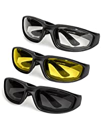 anteojos de sol de alta calidad para motocicleta, conducción y deportes de Besti. Juego de 3 pares, construcción cómoda y duradera, lentes de policarbonato con revestimiento de espejo UV400 con acolchado de goma.