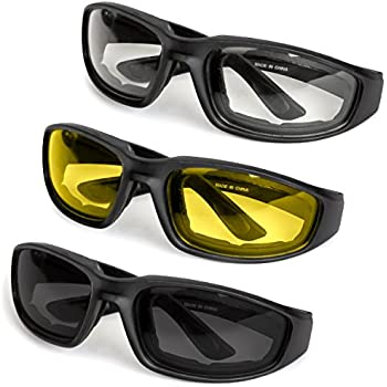 43d821adde 3-Pack Motorcycle Glasses – Foam Padding – Anti-Wind   Dust – Polycarbonate  Lens (Yellow