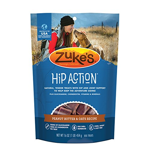 Zukes Natural Hip & Joint Dog Treats; Hip Action Recipe; Made in USA Facilities, Peanut Butter, 16 oz