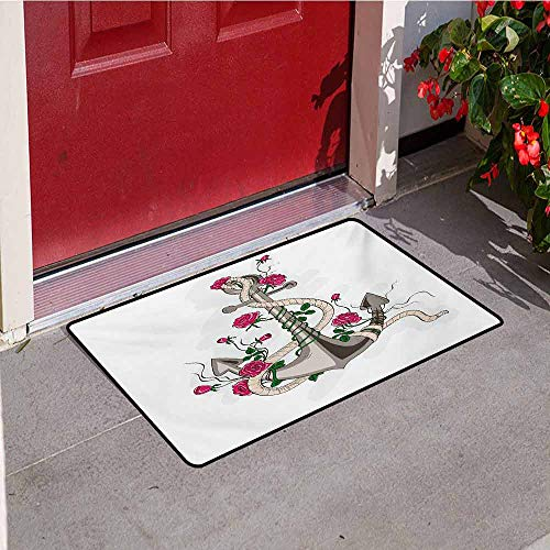 Jinguizi Rose Welcome Door mat Hand Drawn Illustration of Sea Anchor Entwined with Flowers and Marine Rope Door mat is odorless and Durable W47.2 x L60 Inch Hot Pink Green -