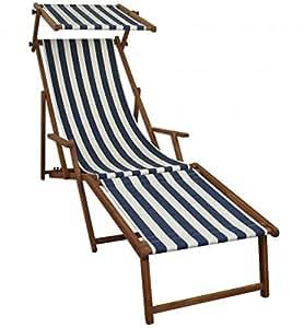 Tumbona de jardín azul de color blanco playa Tumbona Mendler reposapiés Parasol haya silla plegable 10–317F S