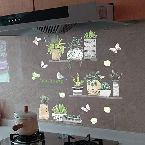 Green Plant Wall Decal Bonsai Flower Butterfly Cactus Wall Stickers DIY Mural Art Decoration for Living Room Bedroom… 2
