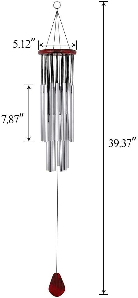33.47 Wind Chimes Large 27 Tubes Tone Resonant Bell Outdoor Church Garden Decor