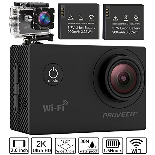 Pruveeo DV100 Waterproof Sports Action Camera with WiFi, Full HD 1080P, 150 degree wide angle, with 25 Accessories Kits, 2 pcs Rechargeable Batteries, 2K DV Video Cam PRUVEEO