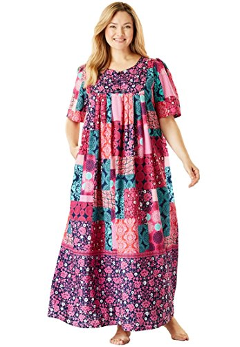 Only Necessities Women's Plus Size Long Lounger - Multi Patchwork, ()
