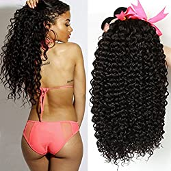 Unprocessed Brazilian Virgin Kinky Curly sexy Human Hair Weave 3 Bundles Deep Curly Hair Extensions Natural black 95-100g/pc Mixed Length (8 10 12)