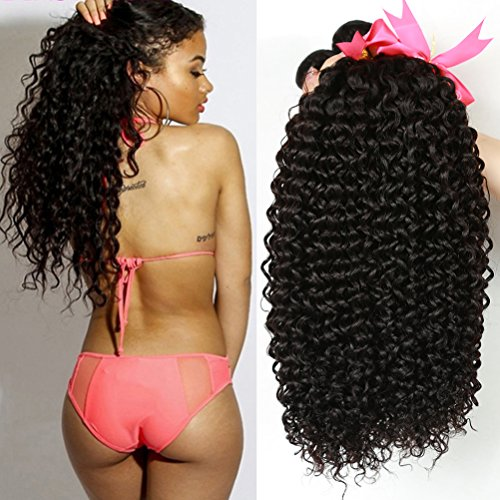 Unprocessed Brazilian Virgin Kinky Curly sexy Human Hair Weave 4 Bundles Deep Curly Hair Extensions Natural black 95-100g/pc Mixed Length (16 18 20 22) by Cherie hair