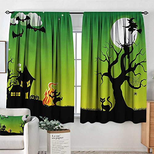 Elliot Dorothy Curtains for Bedroom Halloween,Witches Dancing with Fire and Flying at Halloween Ancient Western Horror Image,Green Black,Darkening and Thermal Insulating Draperies -